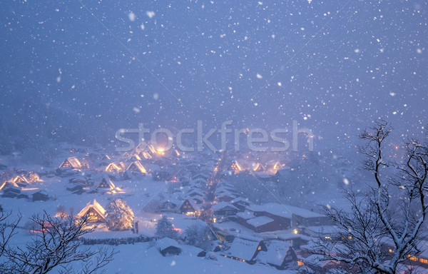 Kar yağışı Japonya Bina sokak kar kış Stok fotoğraf © vichie81
