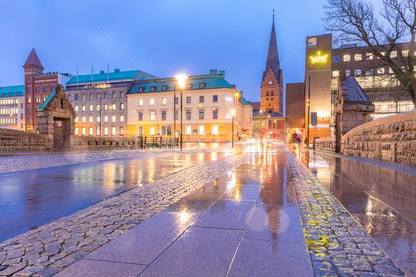 Cityscape Suécia centro da cidade noite crepúsculo água Foto stock © vichie81