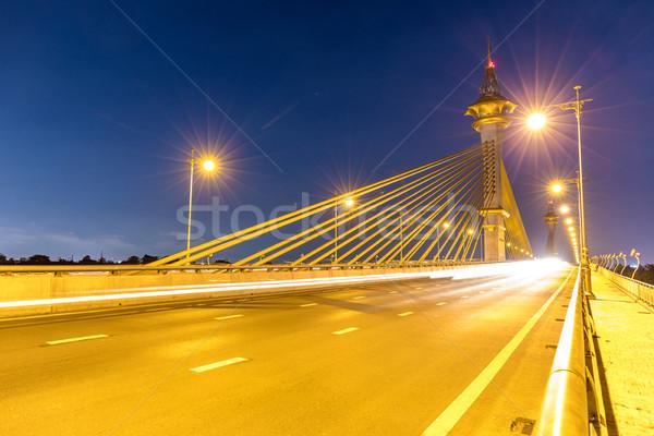 моста закат небе воды строительство красоту Сток-фото © vichie81