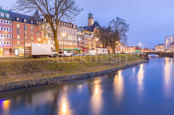 Cityscape centro da cidade noite crepúsculo água cidade Foto stock © vichie81