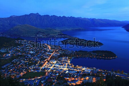 aerial view of Queenstown at dusk Stock photo © vichie81