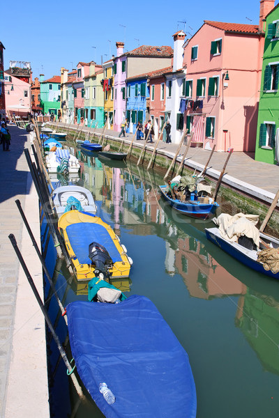 Colorful buildings in main canal Burano island, Venice Italy Stock photo © vichie81
