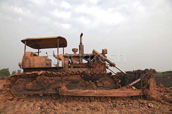 építkezés buldózer homok ipar dolgozik felhő Stock fotó © vichie81