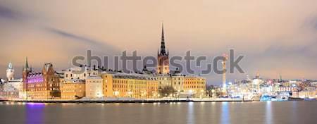 Panorama Sztokholm Cityscape starówka Night City Szwecja Zdjęcia stock © vichie81