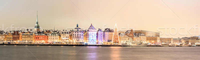 Stockholm panorama gece Cityscape şehir akşam karanlığı Stok fotoğraf © vichie81