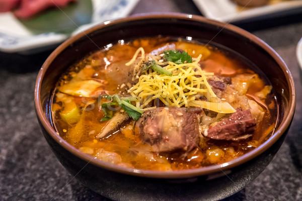 Stufato di manzo riso japanese verde carne Foto d'archivio © vichie81
