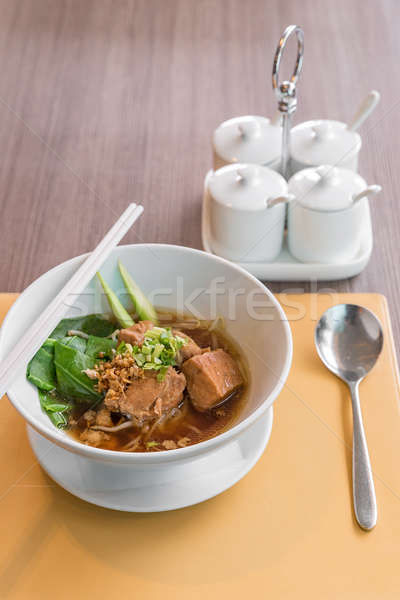 Porc ragoût sauce de soja soupe pâtes Photo stock © vichie81