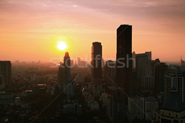 Bangkok Skyline cityscape with sunset Stock photo © vichie81