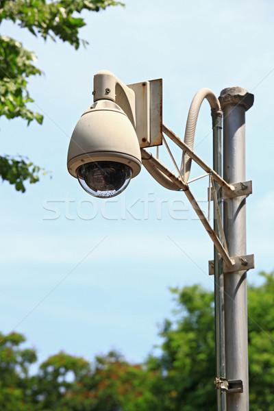 Cctv biztonsági kamera megfigyelés kék ég üzlet technológia Stock fotó © vichie81