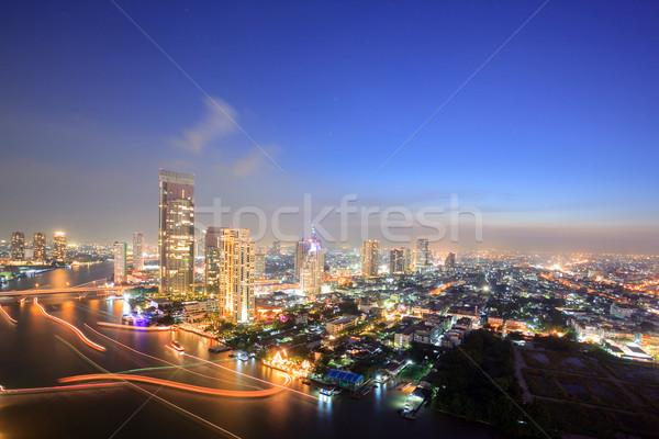 Stock photo: Bangkok Skyline Aerial view at dusk