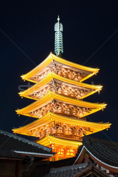 Tempel Tokio Japan pagode hemel stad Stockfoto © vichie81