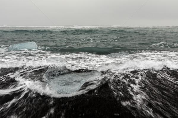 Buzdağı elmas plaj buzul gün batımı manzara Stok fotoğraf © vichie81