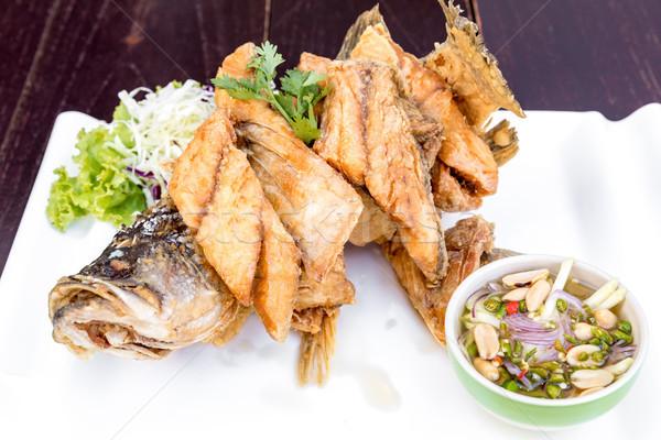 Zee bas vis saus gekruid Stockfoto © vichie81