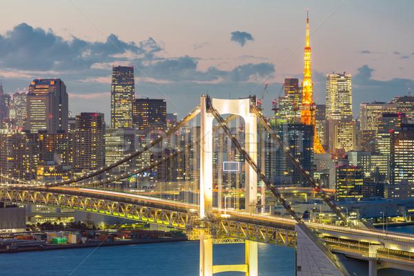 Tokio torre arco iris puente horizonte paisaje urbano Foto stock © vichie81