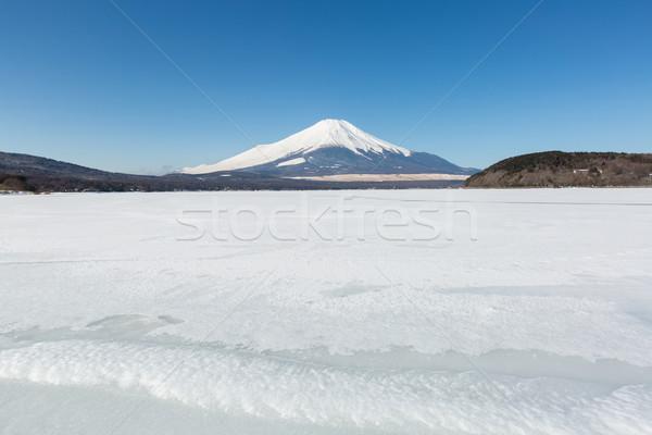 Fudzsi jeges tó tél hó hegy Stock fotó © vichie81