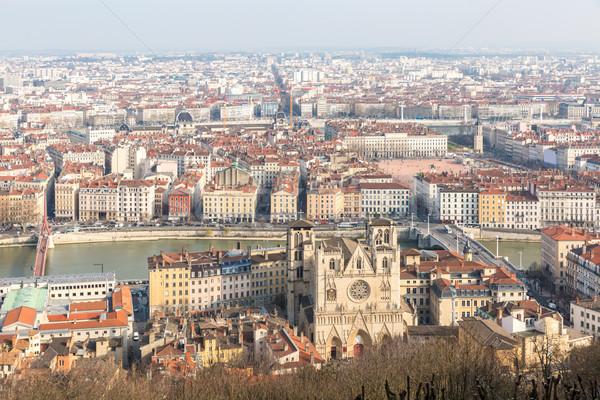 Luchtfoto stad kerk rivier gothic Europa Stockfoto © vichie81