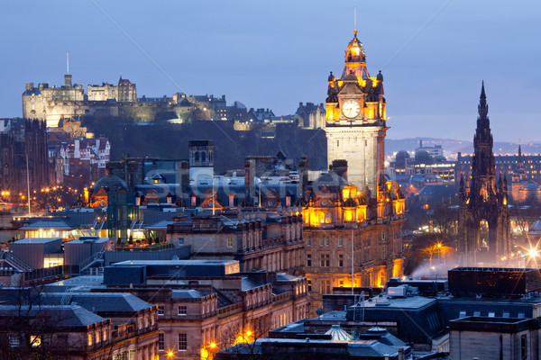 Edinburgh zmierzch wieżowce zamek Hill Zdjęcia stock © vichie81