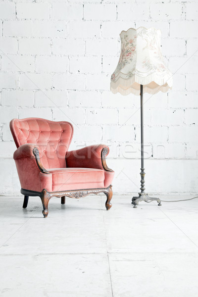 sofa with desk lamp in vintage room Stock photo © vichie81