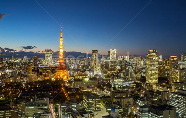 Tokio torre paisaje urbano anochecer puesta de sol Foto stock © vichie81