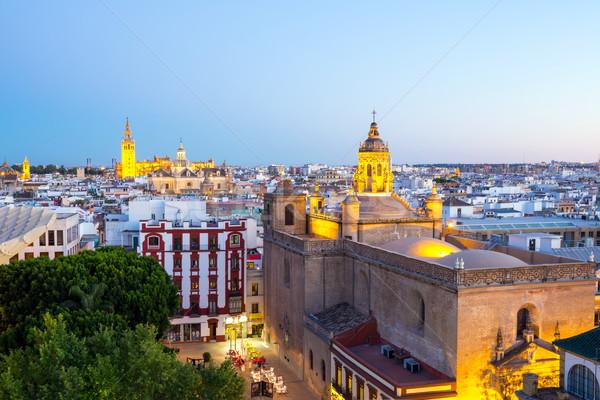 Kathedrale Stadtbild Spanien Innenstadt Dämmerung Gebäude Stock foto © vichie81