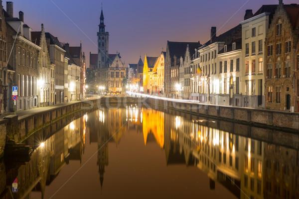 Бельгия ночь исторический средневековых зданий небе Сток-фото © vichie81