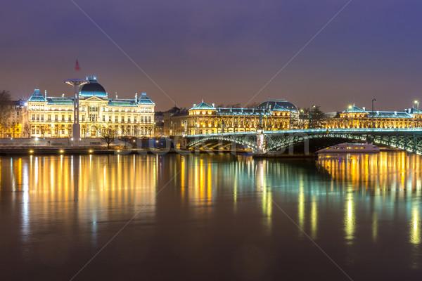 Lione Università ponte Francia fiume notte Foto d'archivio © vichie81