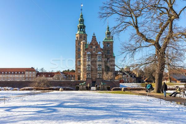 Castillo Copenhague Dinamarca centro edificio nieve Foto stock © vichie81