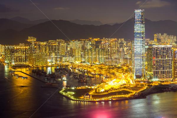 Aerial Hong Kong night Stock photo © vichie81