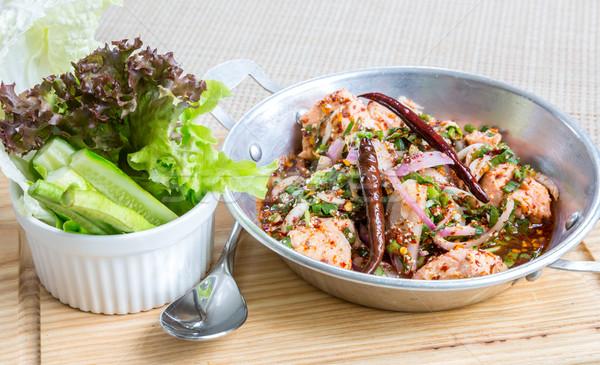 Baharatlı somon salata Taylandlı stil taze sebze Stok fotoğraf © vichie81