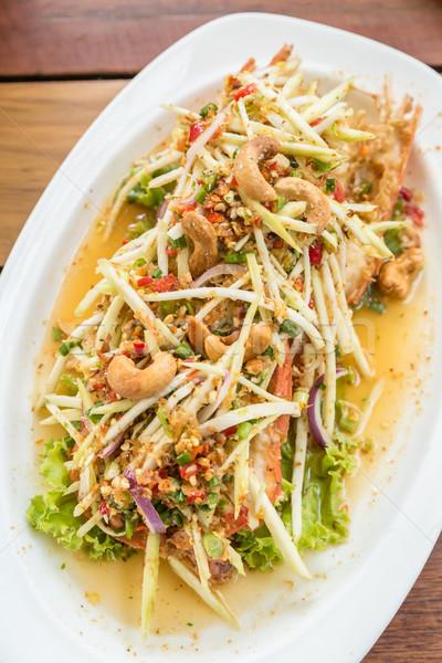 Fűszeres mangó tengeri hal saláta kesudió gyümölcs Stock fotó © vichie81