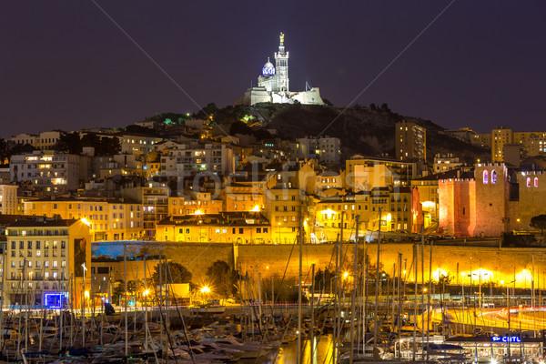Marseille Frankrijk nacht beroemd europese haven Stockfoto © vichie81