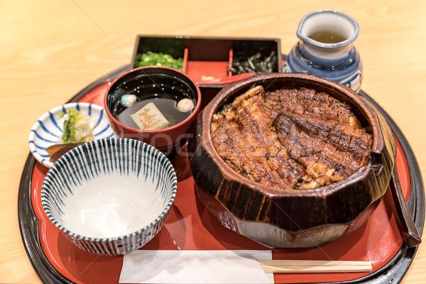 Anguilla riso ciotola set japanese cucina Foto d'archivio © vichie81
