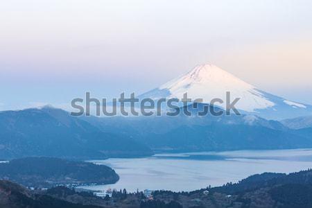 Fuji montanha lago nascer do sol inverno céu Foto stock © vichie81