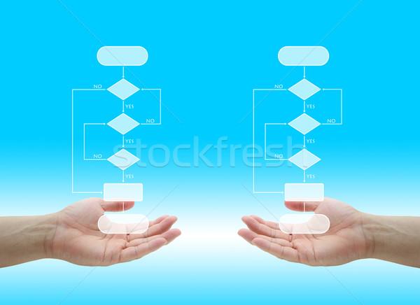 Сток-фото: бизнеса · решение · два · дерево · диаграмма · стороны