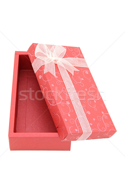 Stock photo: perspective of isolated open red holiday gift box, vertical