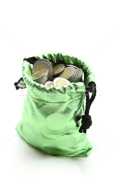 wealth coin in green money bag isolated on white Stock photo © vichie81