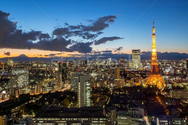 Tokio torre anochecer paisaje urbano puesta de sol Foto stock © vichie81