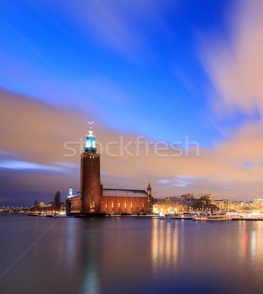 Estocolmo cidade ouvir Suécia arquitetura crepúsculo Foto stock © vichie81