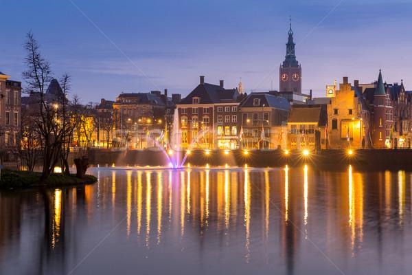 Нидерланды сумерки колокола башни воды здании Сток-фото © vichie81