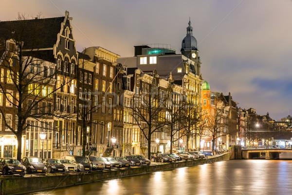 Stok fotoğraf: Amsterdam · Hollanda · batı · yan · akşam · karanlığı · su
