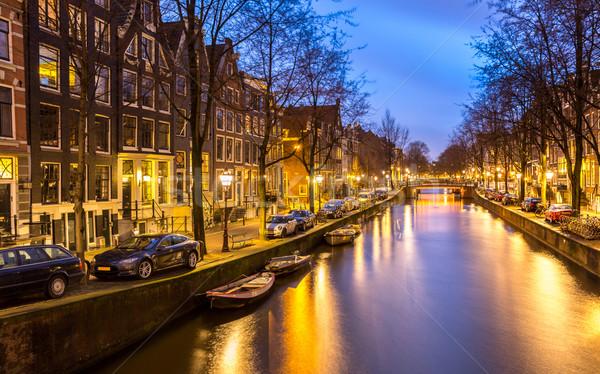 Amsterdam Hollanda batı yan akşam karanlığı su Stok fotoğraf © vichie81