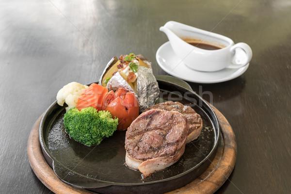Filé steak bors étel piros fehér Stock fotó © vichie81
