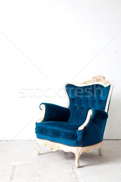 Niebieski fotel klasyczny stylu sofa kanapie Zdjęcia stock © vichie81