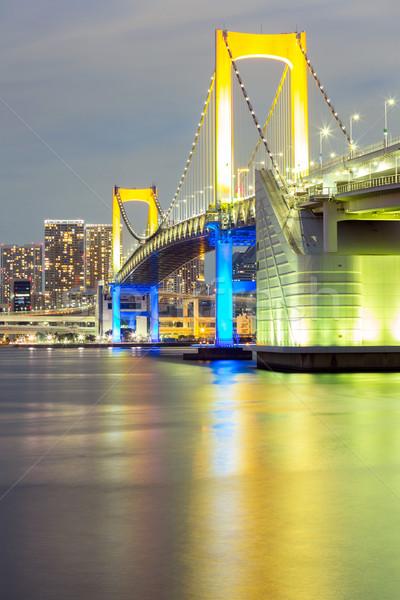 Tokió szivárvány híd alkonyat Japán város Stock fotó © vichie81