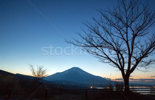 Dağ fuji gün batımı akşam karanlığı göl gökyüzü Stok fotoğraf © vichie81