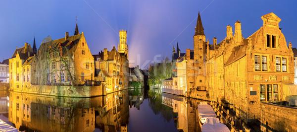 België schemering historisch middeleeuwse gebouwen kanaal Stockfoto © vichie81