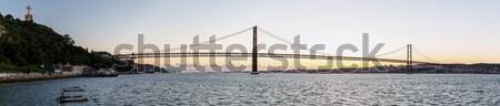 Лиссабон моста Панорама Cityscape На 25 висячий мост Сток-фото © vichie81