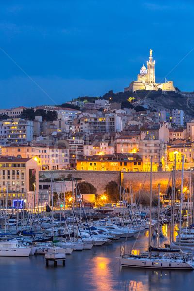 Marseille Franciaország éjszaka híres európai kikötő Stock fotó © vichie81
