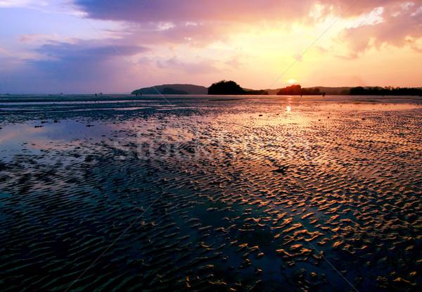 Coucher du soleil plage Thaïlande krabi nuages printemps Photo stock © vichie81