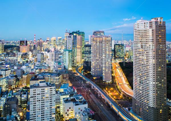 Tokyo şehir merkezinde Cityscape ofis ufuk çizgisi gökdelen Stok fotoğraf © vichie81